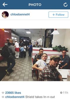 brett dalton, iain de caestecker, nick blood, & clark gregg at in-n-out Le Shield, Shield Cast, Iain De Caestecker, Marvel Actors, Marvel Avengers, Clark Gregg, Fitz And Simmons, Marvels Agents Of Shield, Agent Carter
