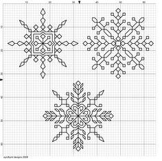Three blackwork snowflakes - very delicate