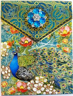 Punch Studio ROYAL BLUE PEACOCK Jeweled NOTE PAD. JUST GORGEOUS!