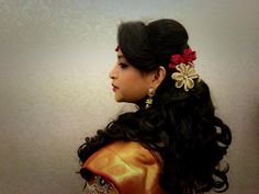 Indian bride's bridal reception hairstyle by Swank Studio. Find us at https://www.facebook.com/SwankStudioBangalore #Saree #Blouse #Design