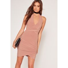 Missguided Wrap Waist Slinky Halterneck Dress Pink ($34) ❤ liked on Polyvore featuring dresses, rose, pink evening dress, wrap dress, red halter dress, red dress and halter cocktail dress
