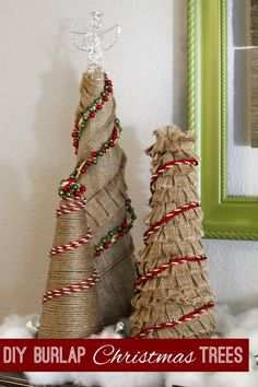 Adorable and simple diy burlap Christmas trees