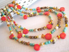 SALE Multi Strand Southwest Necklace, Southwest Jewelry, Western Jewelry, Turquoise, Red Coral, Amber. $46.23, via Etsy.