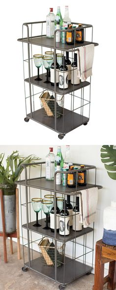 You'll always be ready roll with this handsome Knox Cart in your possession. Sleekly fashioned from gray finished metal, this caged cart has an unmistakably industrial feel. With three roomy tiers, thi...  Find the Knox Cart, as seen in the The Industrial Botanist Collection at http://dotandbo.com/collections/the-industrial-botanist?utm_source=pinterest&utm_medium=organic&db_sku=122578