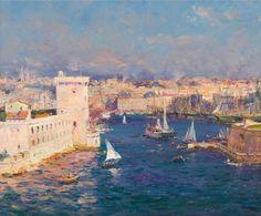 JEAN-BAPTISTE OLIVE (1848-1936)  L'entrée du port de Marseille. Huile sur toile. Signée en bas à droite. 38 x 45 cm. Leclere - Maison de ventes - 18/04.