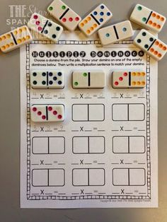 . Multiplication dominoes. Could also use for addition and subtraction.