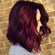 A list of most glamorous hairstyles with different magenta hair color shades. You'll definitely get a crush on Magenta hair color! Magenta Hair Colors, Dark Purple Hair Color, Bob Hair Color, Maroon Color, Dark Ombre, Purple Pixie, Purple Ombre, Purple Style, Purple Burgundy Hair