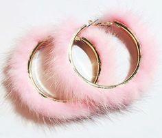 Pink Fur Hoop Earrings at Kinky Cloth – hoopearrings Indian Jewelry Earrings, Fancy Jewellery, Jewelry Design Earrings, Ear Jewelry, Stylish Jewelry, Copper Jewelry, Cute Earrings, Silver Hoop Earrings, Cute Jewelry