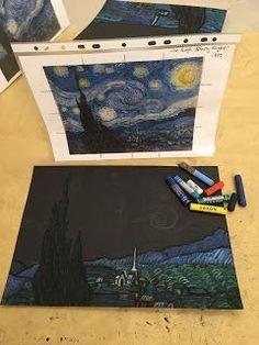 #starry #pastel #britt #night #room #gogh #art #van #oil #inArt Room Britt: Van Gogh 'Starry Night' in Oil Pastel
