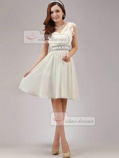 362423775c5 A-line One Shoulder Bridesmaid Dress Short Chiffon Crystal Ivory Bridesmaid  Dresses Ivory Bridesmaid Dresses