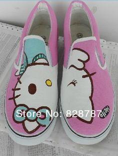 on sale 95901 ba183 Aliexpress.com  Comprar Envío gratis 2013 Hello Kitty zapatos para los  niños lindo Slip on de la lona de los niños zapatillas de deporte casuales  pintado a ...