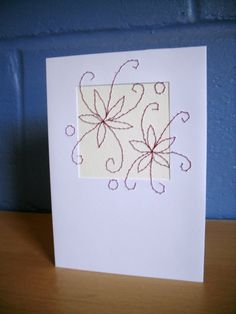 Flower Greetings Card Hand Stitched Blank Card, Birthday, thank you, get well, Mothers Day