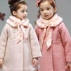 Cheap abrigos de lana niñas coreano estilo: de moda infantil 2014 bebé abrigo color rosa niñas princesa ropa niños chaqueta, Compro Calidad Lana y Mezcla directamente de los surtidores de China:    envío gra