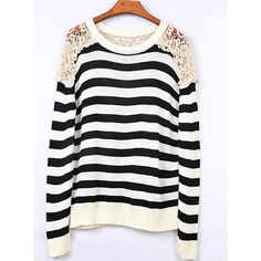 Striped Round Neck Black Sweater with Lace$44.00 ($35) ❤ liked on Polyvore