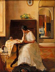✉ Biblio Beauties ✉ paintings of women reading letters & books - Lluís Masriera Rosés