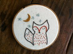 embroidery pattern // foxy night - instant digital download - etsy