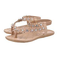f6deced886a43c Robiear Women Summer Bohemia Flower Beads Flipflop Shoes Flat Sandals 37 US  65 Khaki