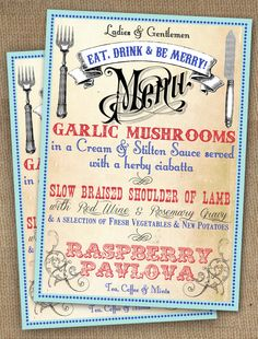 Image detail for -Vintage Style Circus Carnival Poster Wedding Menu by In the Treehouse