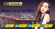 Dapatkan bonus welcome new member sebesar 20% khusus livegame di 818togel.net, Bonus akan langsung diberikan di awal setelah melakukan deposit pertama. #Livegame #LiveDingDong #TogelOnline #BandarTogelTerpercaya #AgenTogelOnline #BandarTogelResmi #BOaman #BOterpercaya #Togel #TogelHK #TogelSGP #Togelsydney #TogelHariIni Welcome New Members
