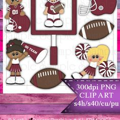 Clipart | Time For Football Burgundy White | Kristi W. Designs Reseller |  for Personal & Commercial Use Instant Download