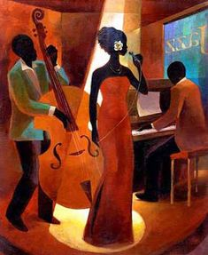 Black Art Oil Painting #CST-35:African American Musicians Band
