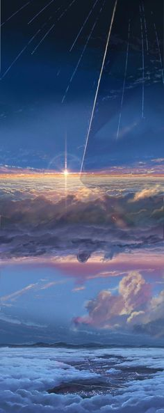 The beautiful background art of Kimi no Na Wa (Your Name) Art Book (Japanese): Kimi no Na wa Official Visual Guide Anime Backgrounds Wallpapers, Anime Scenery Wallpaper, Animes Wallpapers, Cute Wallpapers, Amazing Backgrounds, Kimi No Na Wa Wallpaper, Tumblr Wallpaper, Aesthetic Backgrounds, Aesthetic Wallpapers