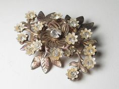Vintage Brooch Gold Tone White Enameled Floral by stampshopgirl