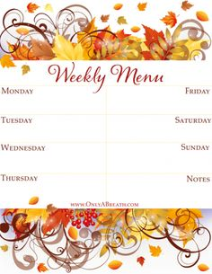 FREE Fall Weekly Menu Printable