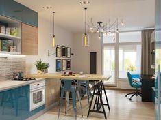 Fényes kék felületek és kiegészítők, minden ami szükséges 29m2-en - kis lakás ötletes, praktikus lakberendezéssel