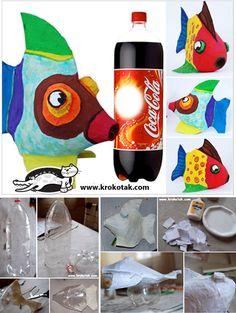 ECO PECES CON PICOS DE BOTELLAS PLASTICAS