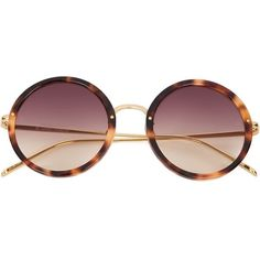 973209cb5a0 Linda Farrow tortoise shell round frame sunglasses ( 765) ❤ liked on Polyvore  featuring accessories