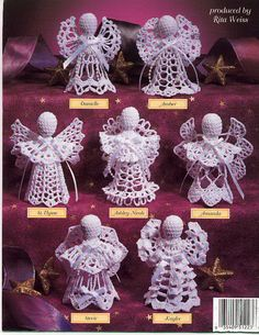 My mother made hundreds of crochet angels. I have decorated our Christmas tree with only the crocheted angels and crocheted snowflakes she also made.Vintage Crochet -- A Choir of Little Angels Crochet Patterns by Jane EspinozaFree patterns for these Vintage Crochet Patterns, Christmas Crochet Patterns, Holiday Crochet, Christmas Angel Ornaments, Christmas Bells, Christmas Crafts, Christmas Tree, Crochet Angel Pattern, Crochet Angels