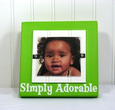 4X4 Picture Frame Baby Nursery Photo Frame Cottage Chic Simply Adorable Green White cottage chic frame kids bedroom frame picture frame kids photo frame 4X4 block frame instagram frame made in the usa baby nursery frame baby photo frame quote saying phrase picture frames 4x4 wood frame homecraft framing 17.00 USD #goriani