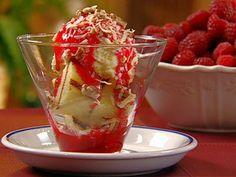 Grilled Pound Cake Sundaes with Raspberry Topping