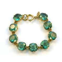 Catherine Popesco 14k Gold Plated 7.5 inch Marine Swarovski Crystals Link Bracelet- I want this I'm the champagne color soooo bad
