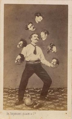"""How people Photoshopped before Photoshop c. 1880 """"Man juggling his own head,"""" unidentified French artist Image: Collection of Christophe Goeury / """"Faking It: Manipulated Photography Before Photoshop"""" at The Metropolitan Museum of Art Photomontage, Circus Vintage, Photoshop World, Photoshop Actions, Photographie Portrait Inspiration, Weird Vintage, Images Vintage, Alphonse Mucha, Daguerreotype"""