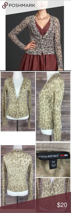 "Banana Republic Mad Men Cardigan Sweater Leopard Banana Republic Limited Edition Mad Men Collection Leopard / Animal Print Cardigan.  Women's size medium.  Gently used. 36% Nylon/30% Mohair/26% Acrylic/7% Wool. Super soft and lightweight, deep v-neck, 3 buttons down front. Chest (armpit to armpit) 18""/Sleeve (wrist to neckline) 28.5""/Length (back of neck to bottom hem) 20"". Banana Republic Sweaters Cardigans"