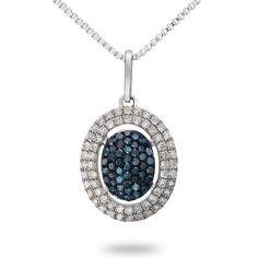 Color Treated Blue and White Diamond Pendant