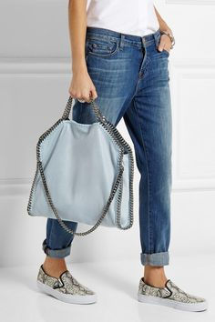 Sky-blue faux brushed-leather Magnetic snap fastening at top Comes with dust bag - Stella McCartney