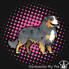 Dark Merle Aussie with long tail cartoon created by a user.  #aussie #australianshepherd #shepherd #dogs #dog #cutedog #petlover #pets #pet #doglover #cartoon