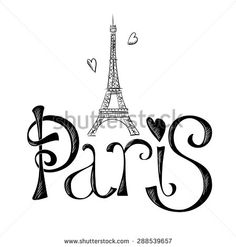 Hand drawn illustration with Eiffel tower. Paris. Vector design elements