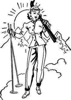 - The Graphics Fairy<br> Today I'm sharing a fun Retro Ski Lady Image! Shown above is a Black and White Illustration of a lady dressed in her cutest Ski clothes and ready to hit the Slopes! Vintage Cartoons, Vintage Ski Posters, Graphics Fairy, Ski Drawing, Black And White Illustration, Female Images, Digital Stamps, Retro, Birthday