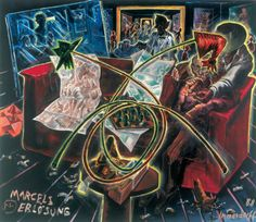 Marcel's Salvation. Oil on canvas,1998 by Jorg Immendorff.  source: all-art.com