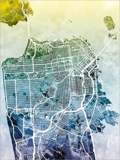 San Francisco Watercolor City Street Map, art print  Frame/Matte is not included. Available sizes are shown in the SELECT A SIZE drop down menu above