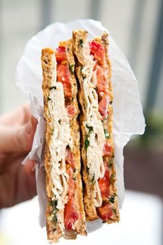 19 Healthy Sandwiches and Salads That Will Warm You Up | Greatist This panini isn't just about slapping some cheese and tomato on bread and calling it a day. With a fresh basil-infused, lemony Greek yogurt spread, plus some turkey for added protein, it turns the volume up on the basic pressed sandwich.