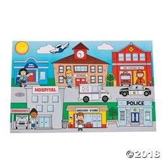 Give children a glimpse into their communities with these sticker scenes featuring the post office, school, fire station, hospital, grocery store and a police . Community Places, Art For Kids, Crafts For Kids, Community Helpers Preschool, School Community, People Who Help Us, Fun Express, Hidden Pictures, Oriental Trading