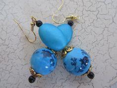 Blue Earrings Hand Painted Blue Ceramic by BrownBeaverBeadery, $6.00