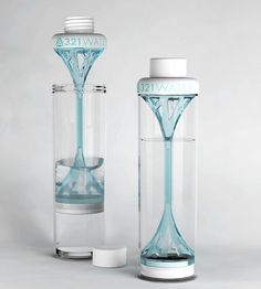 321 Water bottle - reusable, BPA free plastic water bottle with unique plunger filter, designed by Gretha Oost.