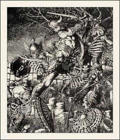Barry Windsor-Smith — Conan battling skeletal warriors