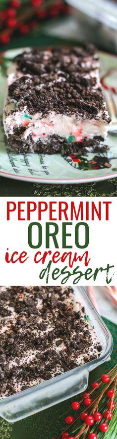 Peppermint Ice Cream, Oreo Ice Cream, Ice Cream Desserts, Christmas Desserts, Christmas Baking, Christmas Stuff, Holiday Meals, Christmas Goodies, Christmas Treats
